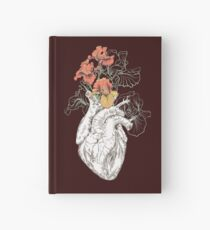 drawing Human heart with flowers Hardcover Journal