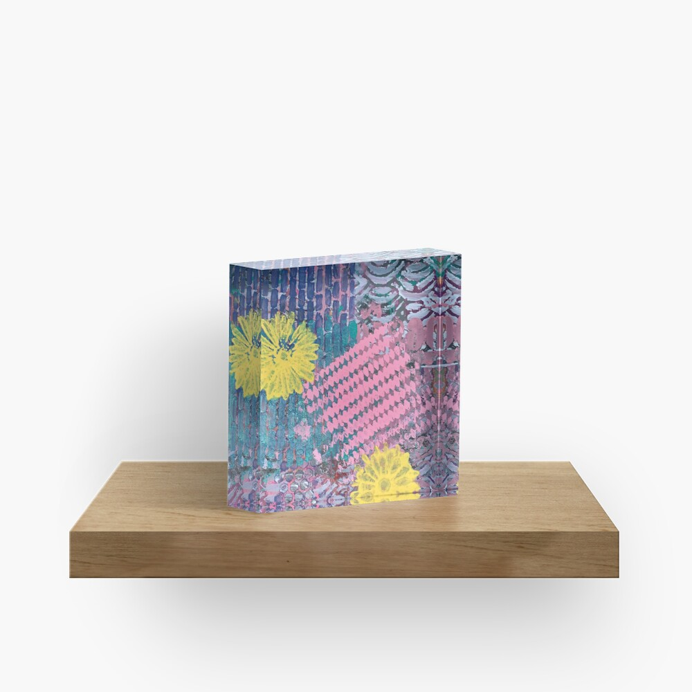 Yellow Flowers in Pink and Purple Fields  Acrylic Block