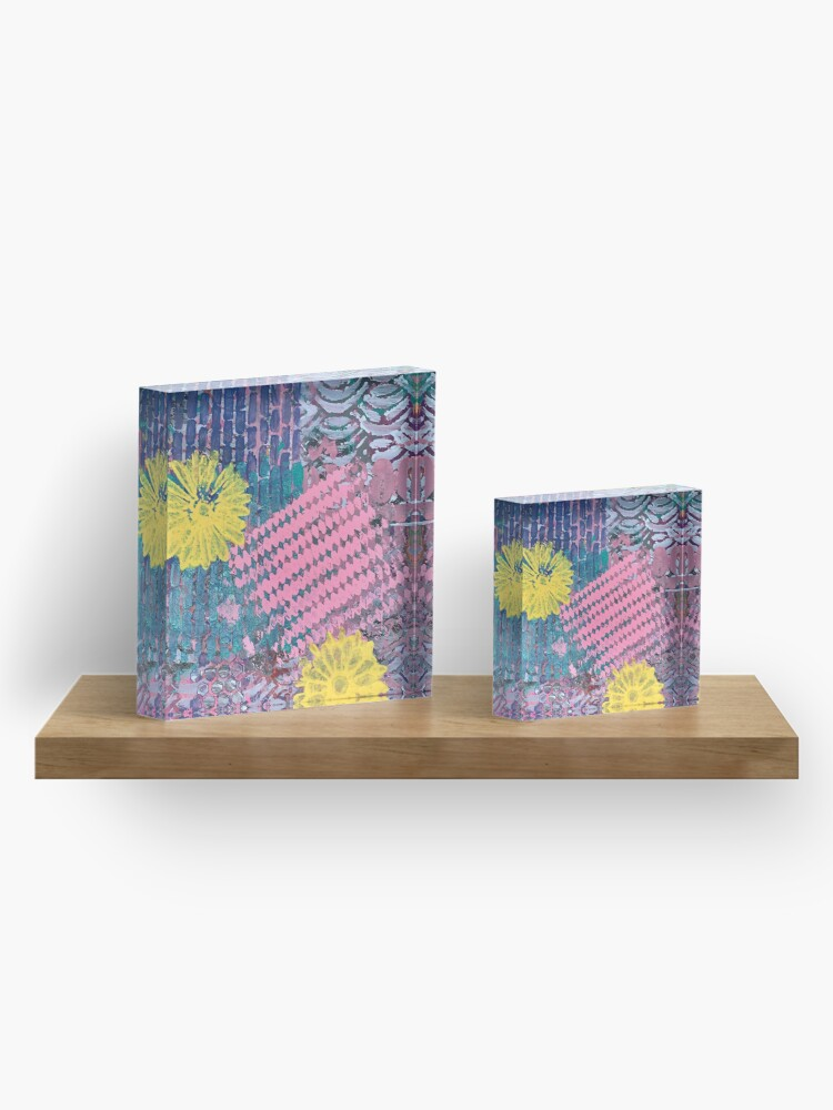 Alternate view of Yellow Flowers in Pink and Purple Fields  Acrylic Block