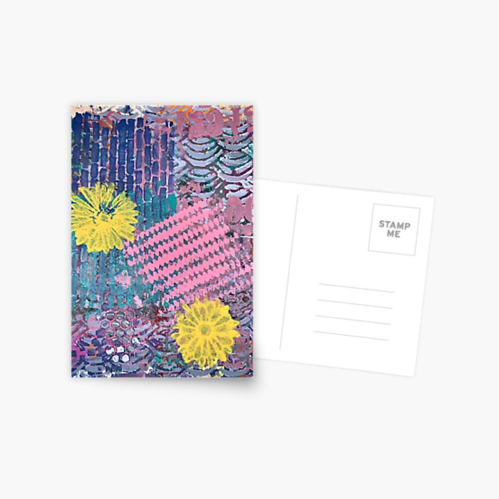 Yellow Flowers in Pink and Purple Fields  Postcard
