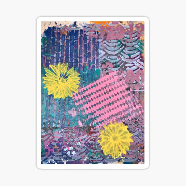 Yellow Flowers in Pink and Purple Fields  Sticker