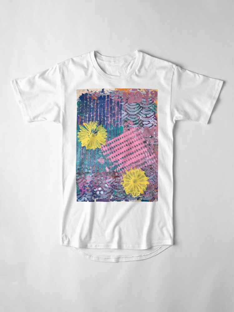 Alternate view of Yellow Flowers in Pink and Purple Fields  Long T-Shirt