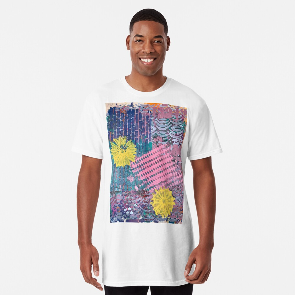 Yellow Flowers in Pink and Purple Fields  Long T-Shirt