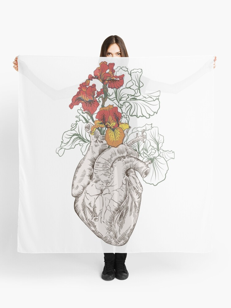 779a2ab7b drawing Human heart with flowers