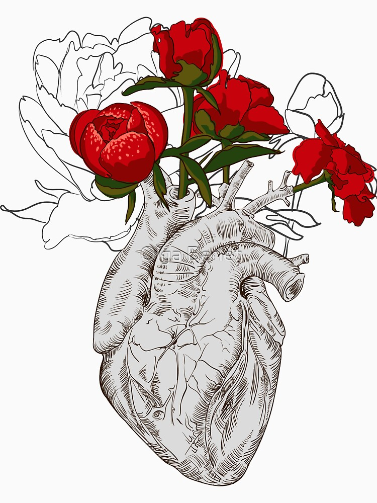 7f5c1b810 drawing Human heart with flowers