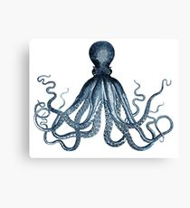 Vintage Octopus Art Print Blue ~ Kraken ~ Nautical ~ Retro ~ 0389 Canvas Print