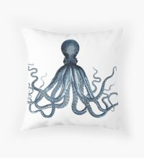 Vintage Octopus Art Print Blue ~ Kraken ~ Nautical ~ Retro ~ 0389 Throw Pillow