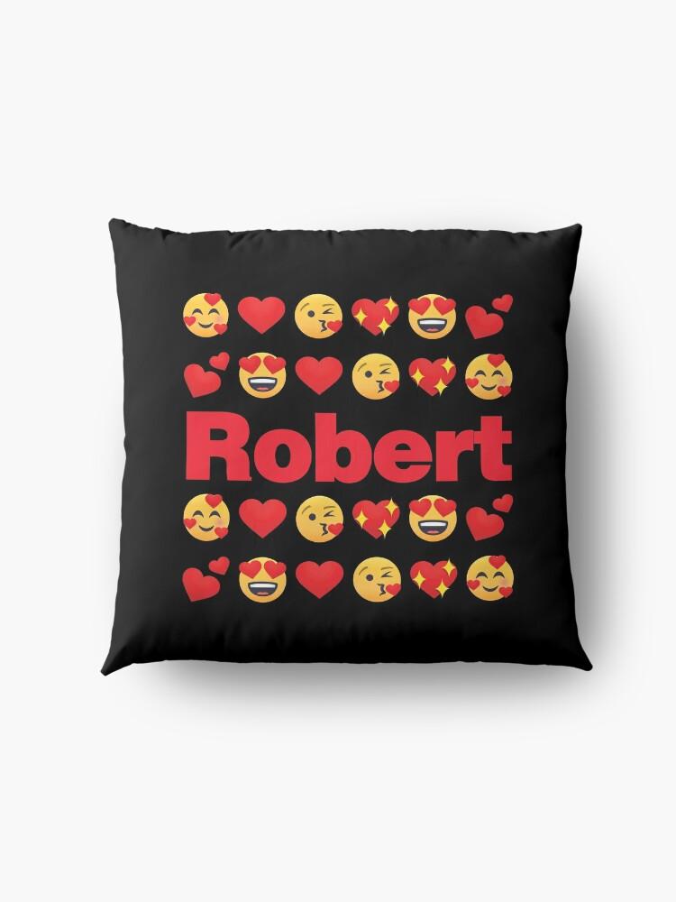 Alternate view of Robert Emoji My Love for Valentines day Floor Pillow