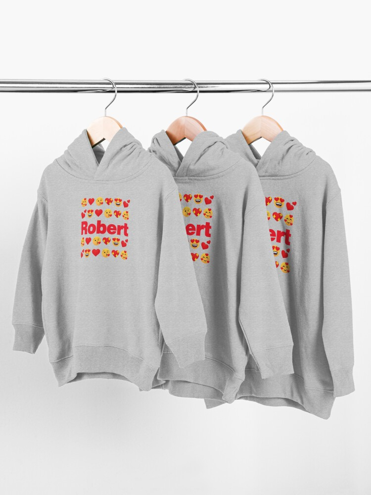 Alternate view of Robert Emoji My Love for Valentines day Toddler Pullover Hoodie