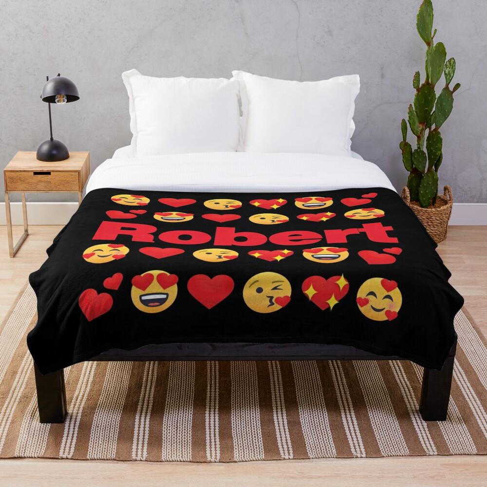 Robert Emoji My Love for Valentines day Throw Blanket