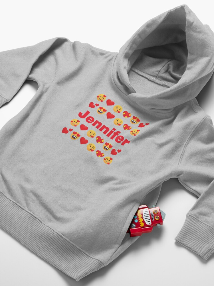 Alternate view of Jennifer Emoji My Love for Valentines day Toddler Pullover Hoodie