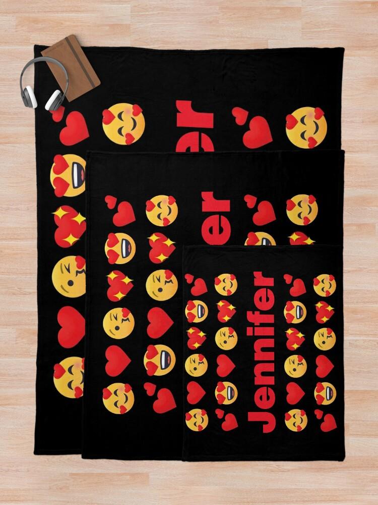Alternate view of Jennifer Emoji My Love for Valentines day Throw Blanket