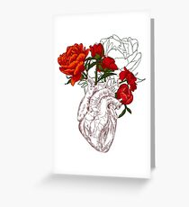 drawing Human heart with flowers Greeting Card