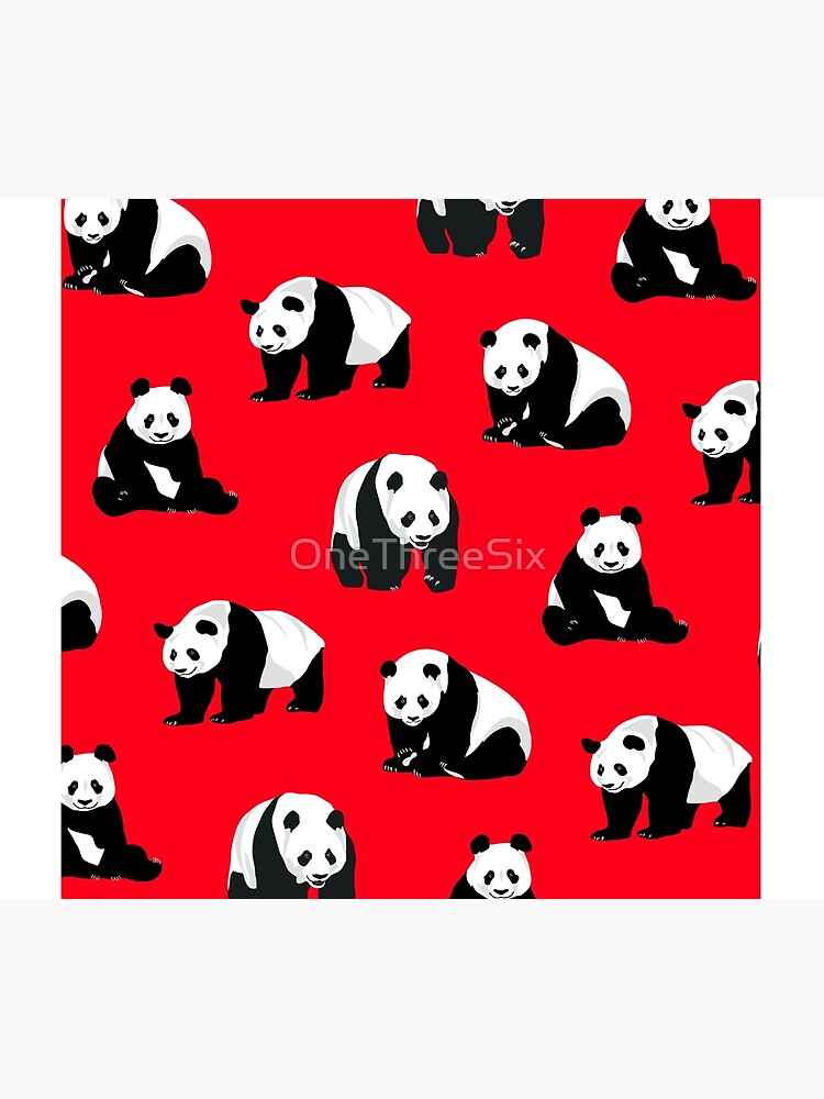 Pandas on a Red Background  by OneThreeSix