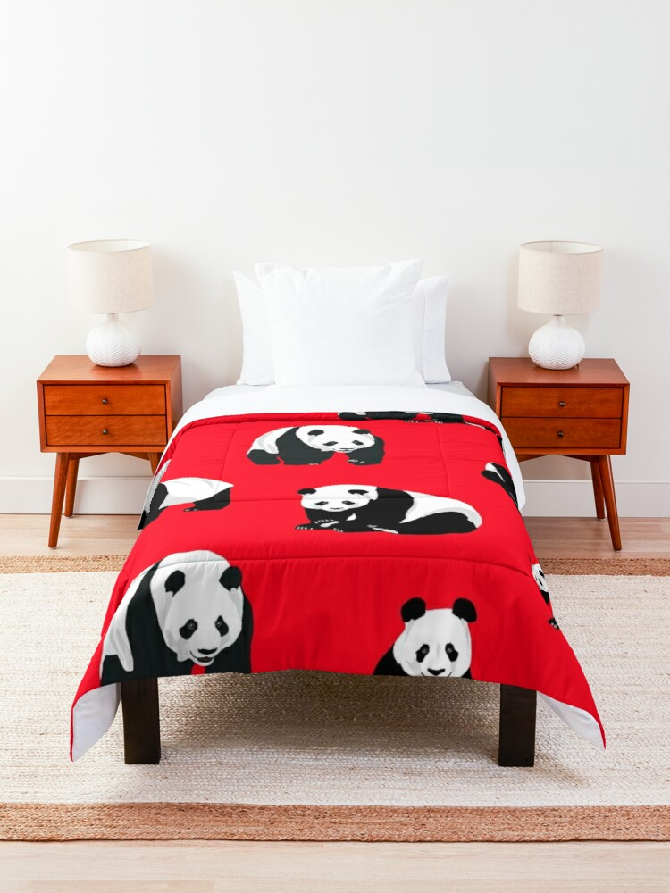 Alternate view of Pandas on a Red Background  Comforter