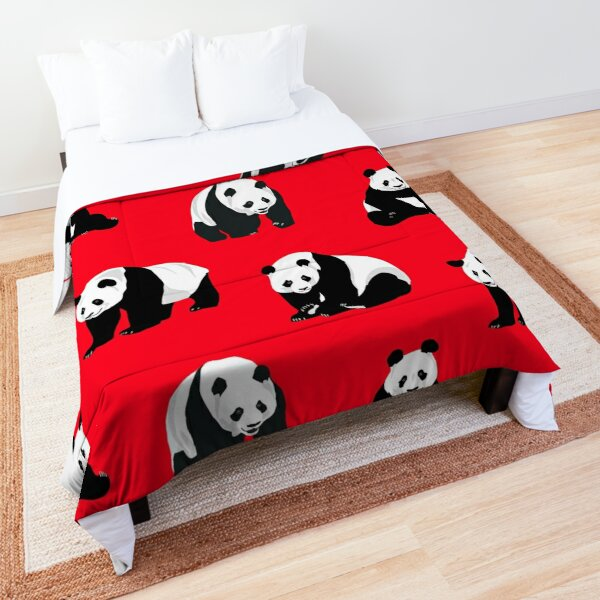 Pandas on a Red Background  Comforter