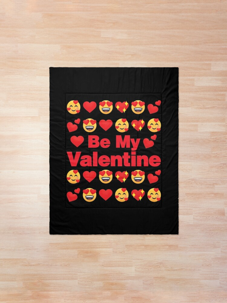 Alternate view of Be My Valentine Emoji Lovely Valentines saying Comforter