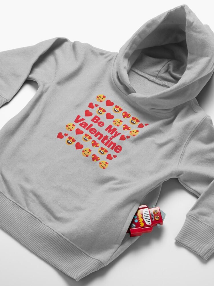 Alternate view of Be My Valentine Emoji Lovely Valentines saying Toddler Pullover Hoodie