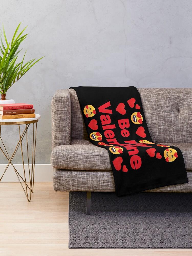 Alternate view of Be My Valentine Emoji Lovely Valentines saying Throw Blanket