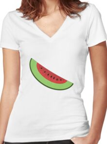 Cartoon Watermelon Slice Women's Fitted V-Neck T-Shirt