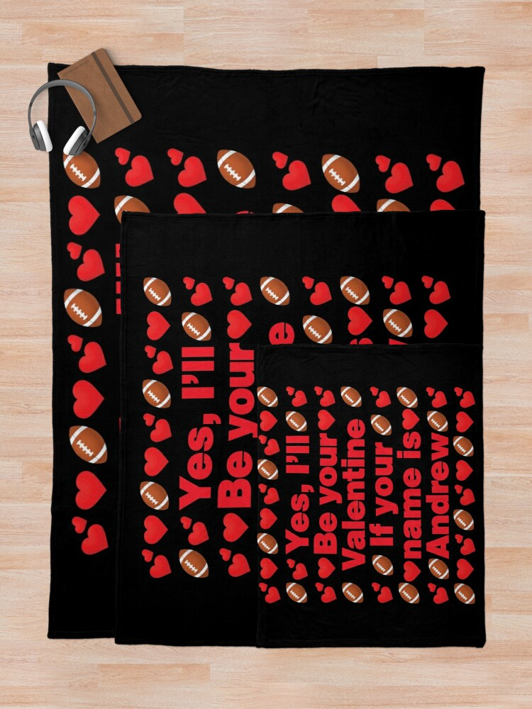 Alternate view of Football Emoji Be Your Valentine if your Name is Andrew Throw Blanket