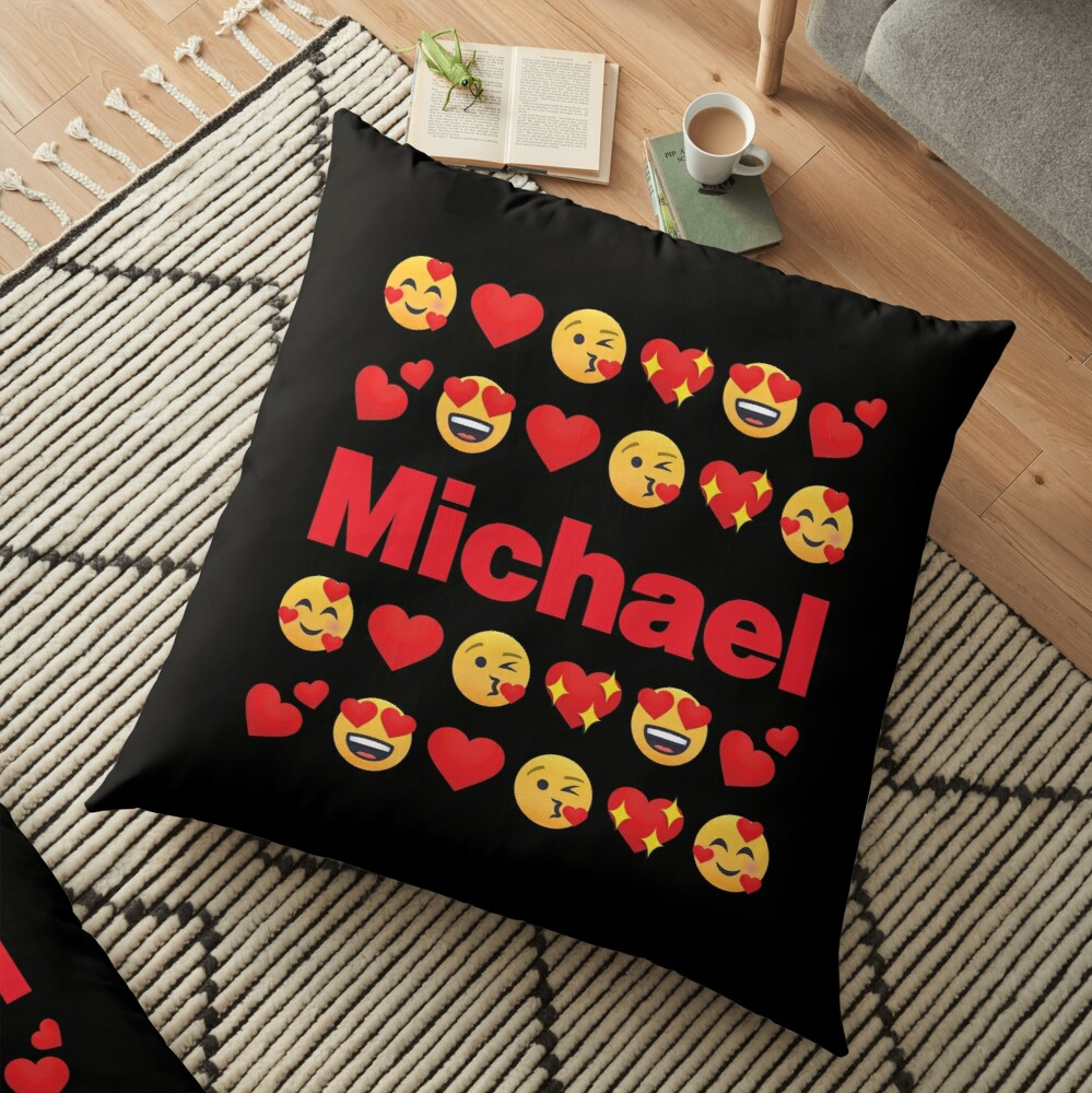 Michael Emoji My Love for Valentines day Floor Pillow