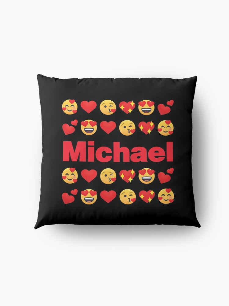 Alternate view of Michael Emoji My Love for Valentines day Floor Pillow