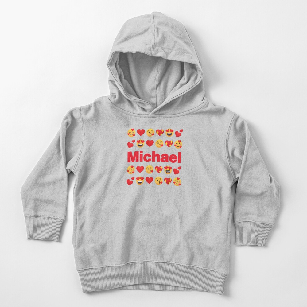Michael Emoji My Love for Valentines day Toddler Pullover Hoodie