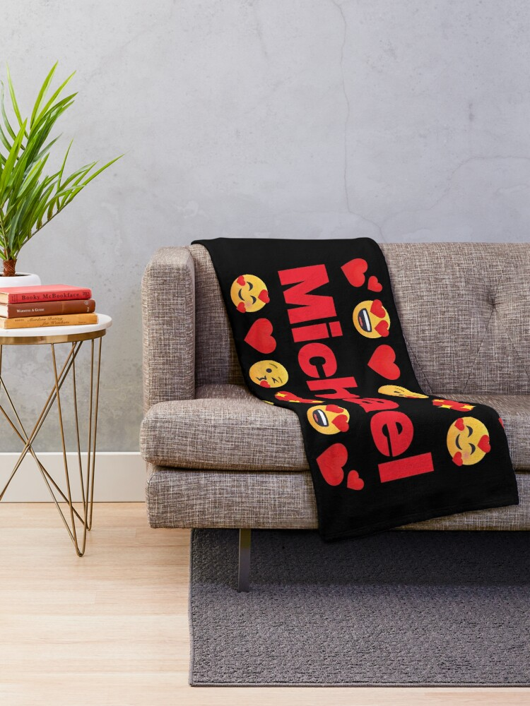 Alternate view of Michael Emoji My Love for Valentines day Throw Blanket