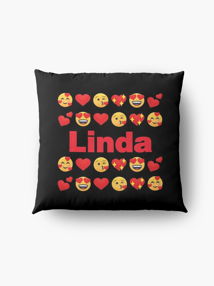 Alternate view of Linda Emoji My Love for Valentines day Floor Pillow
