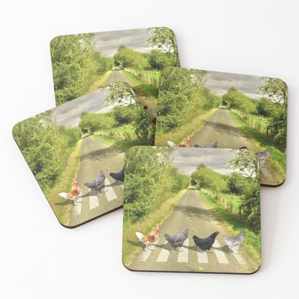 Chicken Abbey Road Coasters (Set of 4)