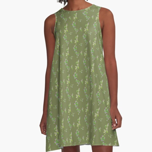 Cranesbill patterns on green A-Line Dress