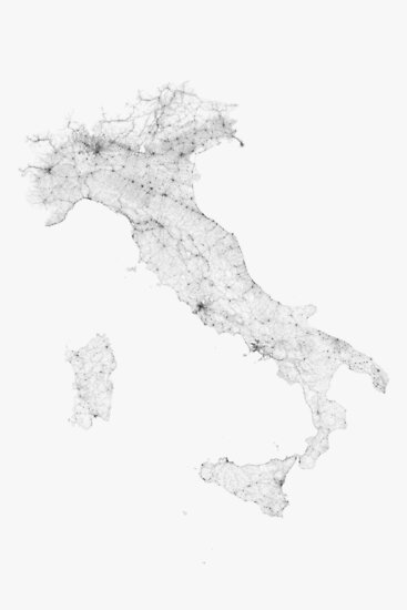 Roads of Italy. (Black on white) von Graphical-Maps