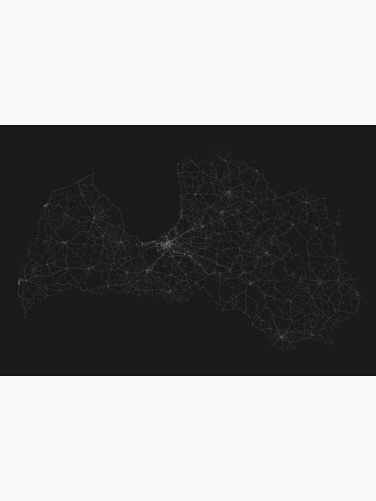Roads of Latvia. (White on black) by Graphical-Maps