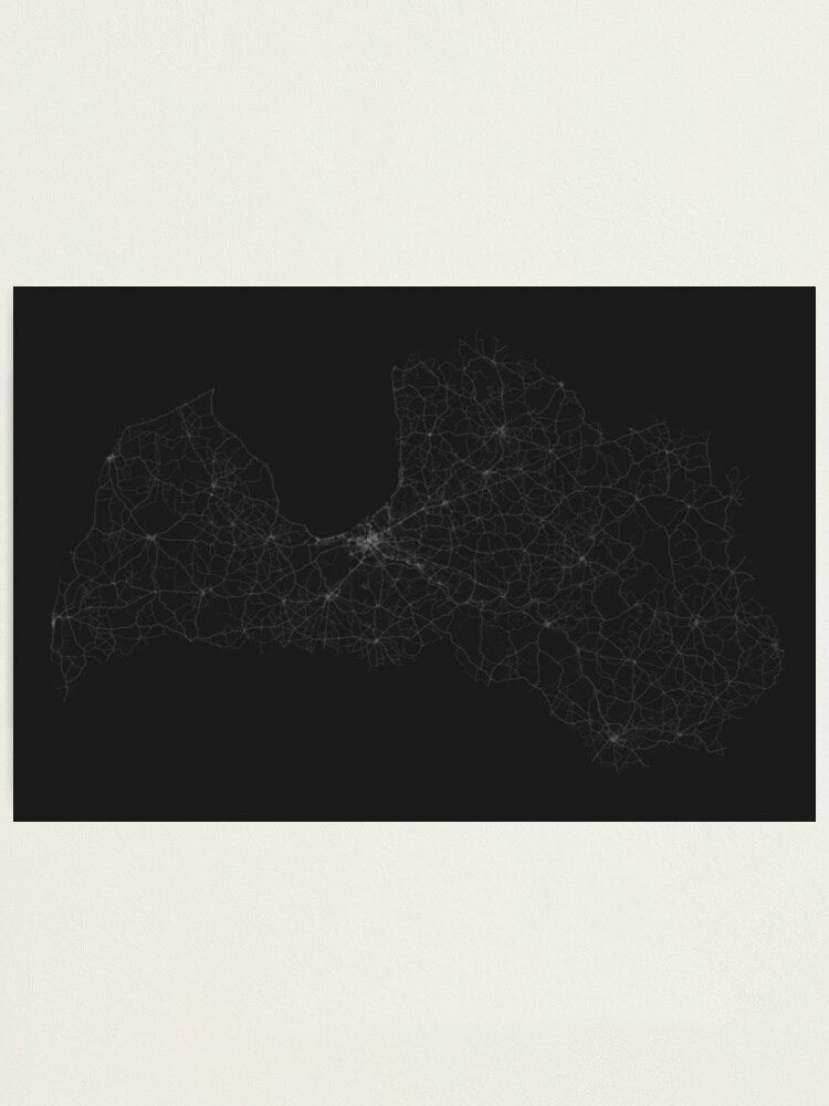 Alternate view of Roads of Latvia. (White on black) Photographic Print