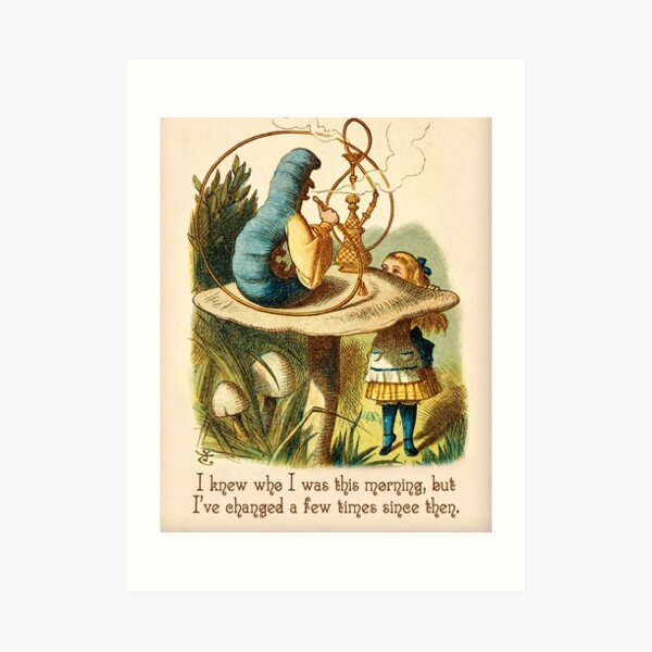 Alice in Wonderland Quote -  I Knew Who I Was - Caterpillar Quote - 0235 Art Print