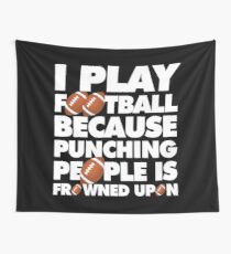 Play American Football Because Punching People Funny Saying Emoji Tapestry