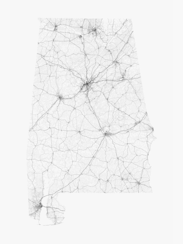 Roads of Alabama. (Black on white) by Graphical-Maps