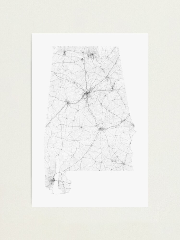 Alternate view of Roads of Alabama. (Black on white) Photographic Print