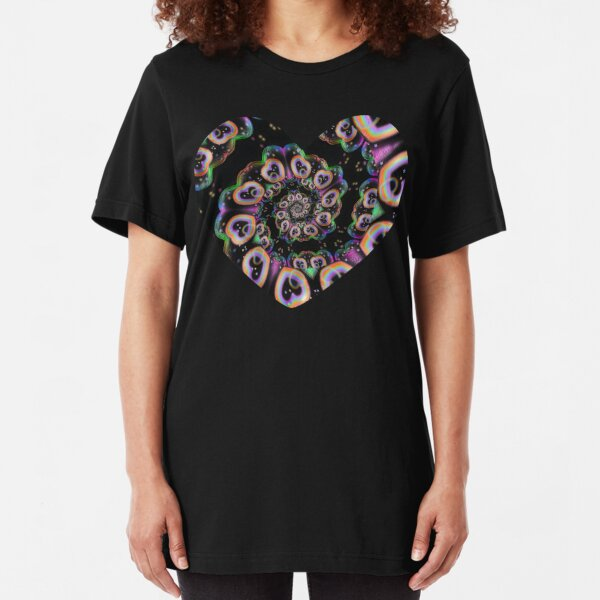 Rainbow Heart Spiral Slim Fit T-Shirt