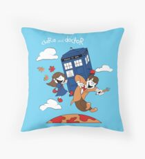 Clara and Doctor travel with Tardis Throw Pillow