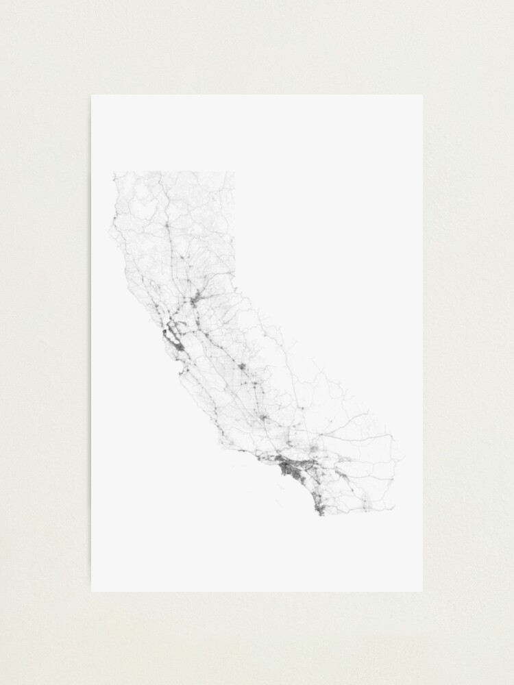 Alternate view of Roads of California. (Black on white) Photographic Print