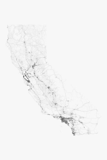 Roads of California. (Black on white) by Graphical-Maps