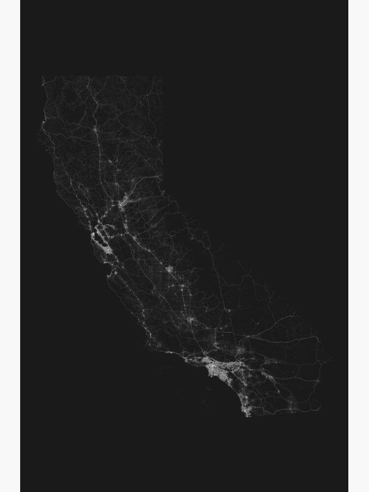 Roads of California. (White on black) by Graphical-Maps
