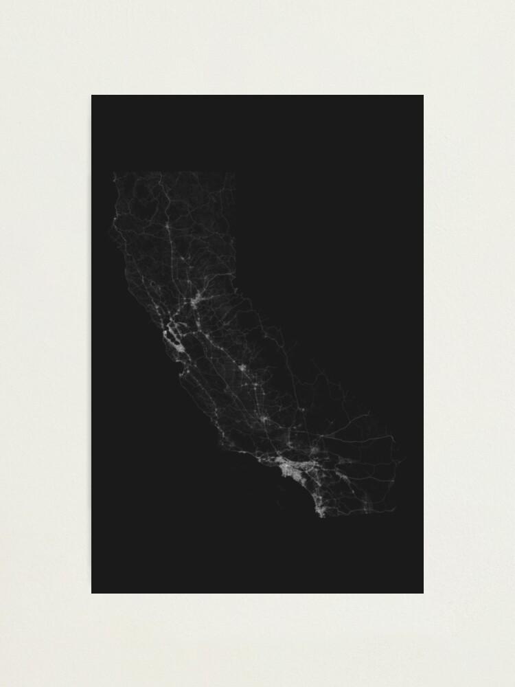 Alternate view of Roads of California. (White on black) Photographic Print