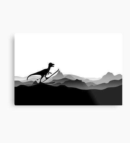 DINO ON SKI - Skiing Dinosaur - Dino Collection Metal Print