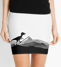DINO ON SKI - Skiing Dinosaur - Dino Collection Mini Skirt