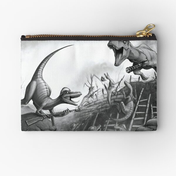T-Rex Charging the Trenches Zipper Pouch