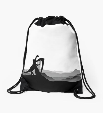 DINO MUSICIAN - Dinosaur with Harp - Dino Collection Drawstring Bag
