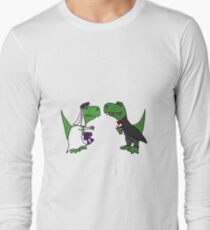 Funny Green T-Rex Dinosaur Bride and Groom Long Sleeve T-Shirt